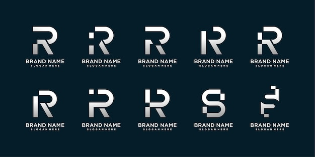 Conjunto de coleção de logotipo da letra r e s com conceito moderno criativo
