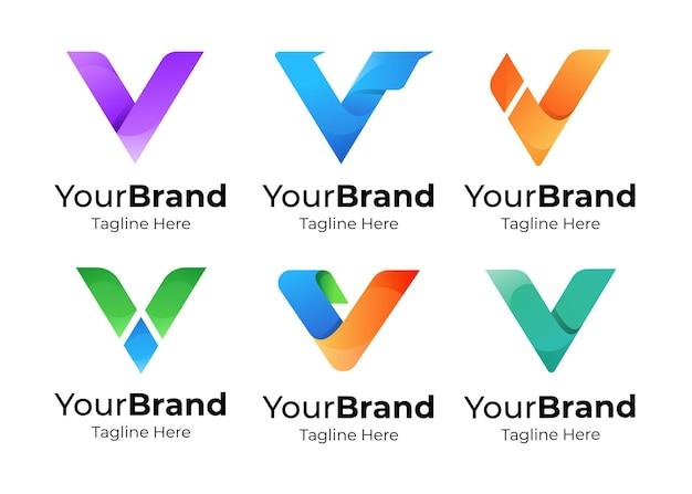 Conjunto de coleção de logotipo da letra v com conceito colorido para empresa