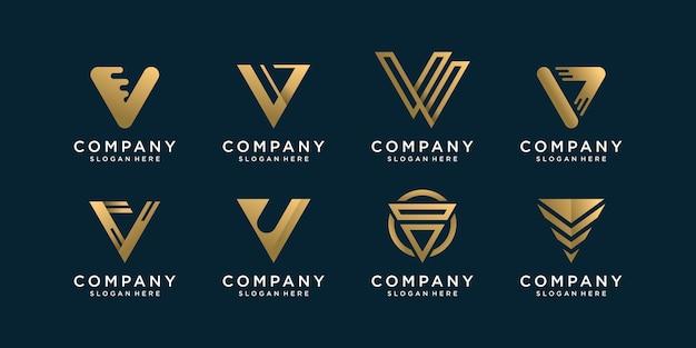 Conjunto de coleção de logotipo da letra v com conceito dourado