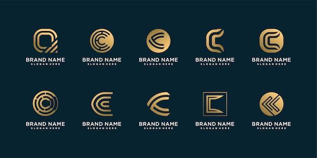 Conjunto de coleção de logotipo da lletter c com conceito criativo