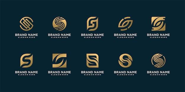 Conjunto de coleção de logotipo da lletter s com conceito criativo
