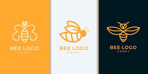Conjunto de coleção de logotipo de abelha de mel com estilo de arte de linha moderna