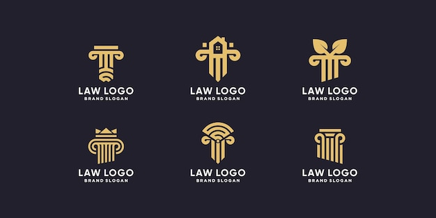 Conjunto de coleção de logotipo de advogado com estilo criativo
