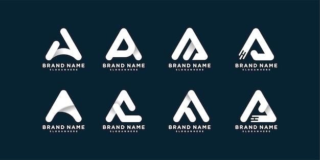 Conjunto de coleção de logotipo de carta com a inicial