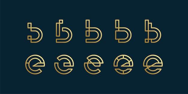 Conjunto de coleção de logotipo de carta com estilo de arte de linha minimalista inicial b e e, empresa, marca