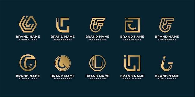 Conjunto de coleção de logotipo de carta com j inicial para empresa com conceito criativo