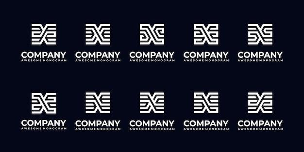 Conjunto de coleção de logotipo de carta de monograma abstrato para empresa