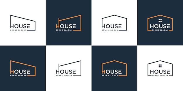Conjunto de coleção de logotipo de casa minimalista com conceito moderno premium vector