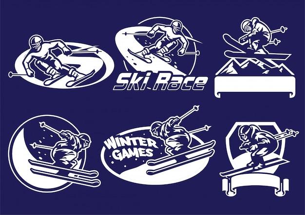 Conjunto de coleção de logotipo de esqui