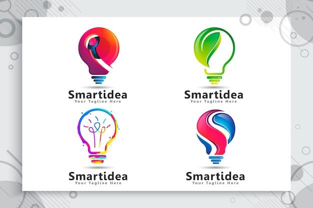 Conjunto de coleção de logotipo de ideia inteligente verde de lâmpada