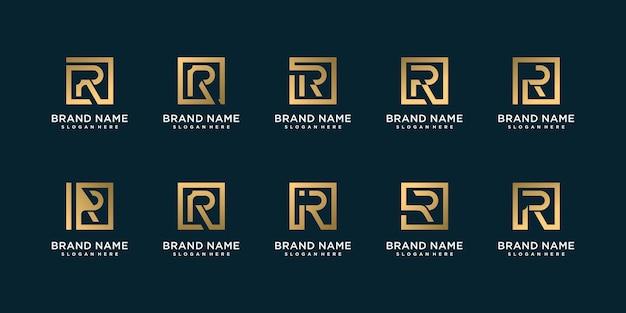 Conjunto de coleção de logotipo de letra dourada com r inicial, dourado