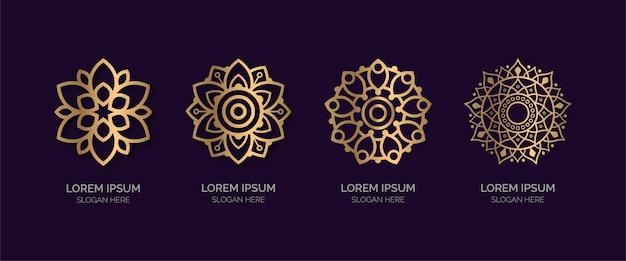 Conjunto de coleção de logotipo de mandala dourada