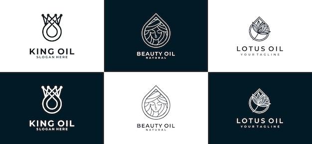 Conjunto de coleção de logotipo de óleo