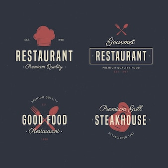 Conjunto de coleção de logotipo de restaurante retrô