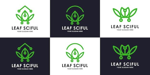 Conjunto de coleção de logotipo de tecnologia de folha de beleza