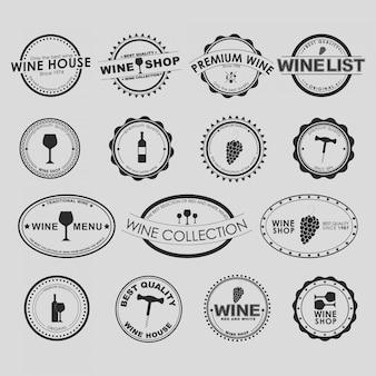 Conjunto de coleção de logotipo de vinho vintage