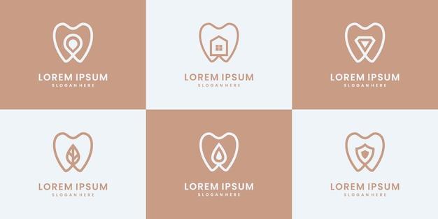 Conjunto de coleção de logotipo dental. modelos minimalistas de design de logotipo médico, clínico e saudável.
