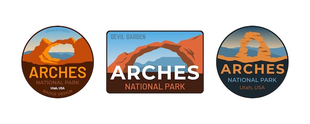 Conjunto de coleção de logotipo em forma de emblema do parque nacional de arcos