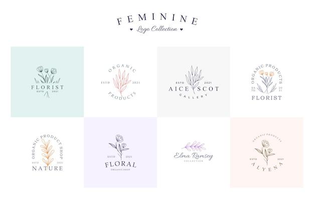 Conjunto de coleção de logotipo floral lindo