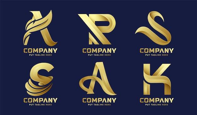 Conjunto de coleção de logotipo inicial de letras douradas de bundle premium para empresas