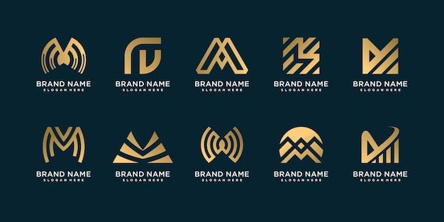 Conjunto de coleção de logotipo m com gradiente dourado