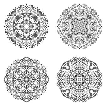 Conjunto de coleção de mandala desenhada à mão