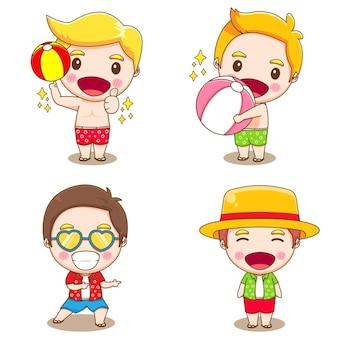 Conjunto de coleção de menino fofo fazendo atividades de verão