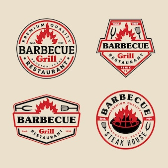 Conjunto de coleção de modelos de logotipo de emblema de churrasco