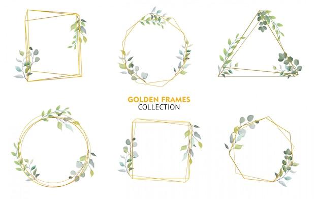 Conjunto de coleção de molduras douradas com design floral