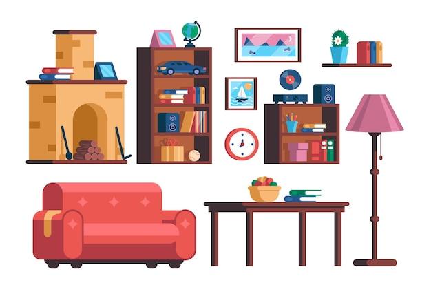 Conjunto de coleção de móveis de interior para sala de estar