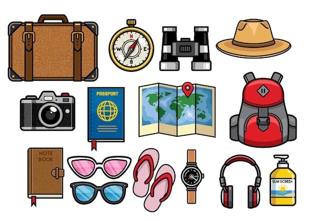 Conjunto de coleção de objetos de viagem