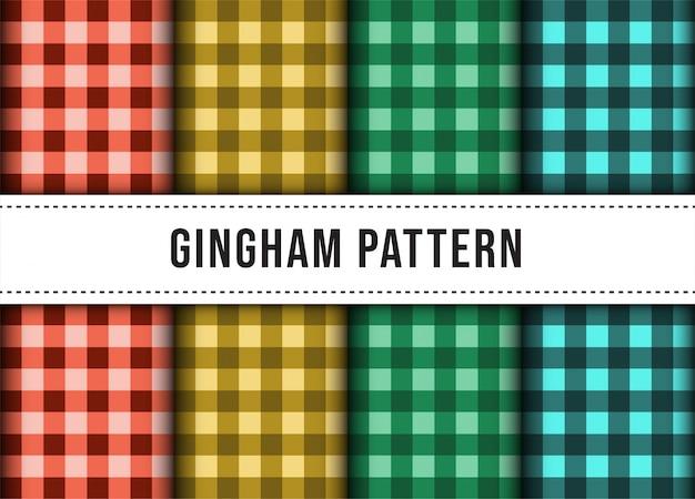 Conjunto de coleção de padrão sem emenda de toalha de mesa de linha xadrez xadrez.