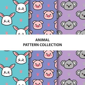 Conjunto de coleção de padrões sem emenda de animais