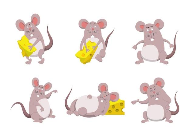 Conjunto de coleção de personagens de desenhos animados de rato e queijo fofos
