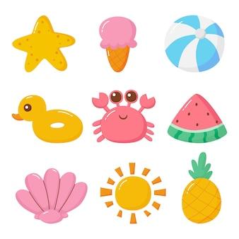 Conjunto de coleção de personagens de desenhos animados kawaii de verão