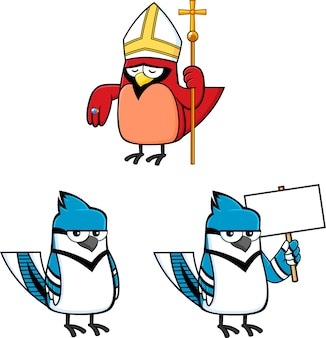Conjunto de coleção de personagens de pássaros dos desenhos animados isolado no fundo branco