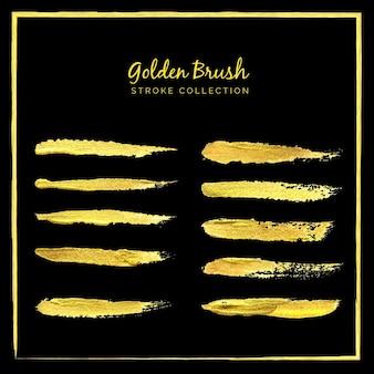 Conjunto de coleção de pinceladas de tinta dourada em fundo preto