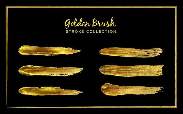 Conjunto de coleção de pinceladas douradas em fundo preto ou tinta preta