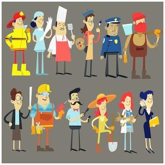 Conjunto de coleção de profissão de trabalhadores