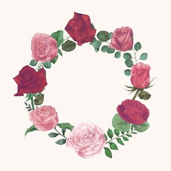 Conjunto de coleção de rosas em aquarela Mão Draw Paint Vector