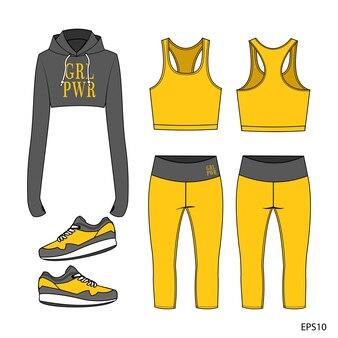 Conjunto de coleção de roupas esportivas. fitness out fit vista frontal e traseira