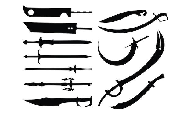 Conjunto de coleção de silhueta da espada