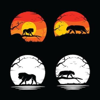 Conjunto de coleção de silhueta de leão e tigre