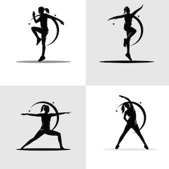 Conjunto de coleção de silhuetas de ginástica feminina