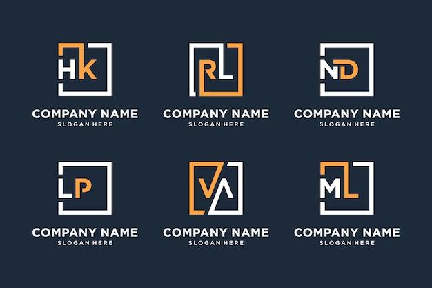 Conjunto de coleção de símbolo de negócios elegante de logotipo de monograma, ícone, símbolo, letra inicial, quadrado para sua empresa