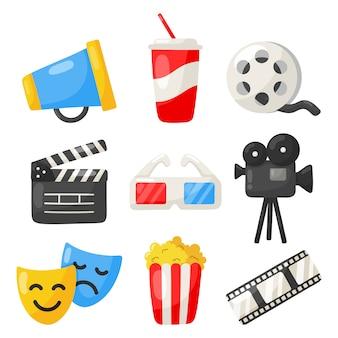 Conjunto de coleção de sinais e símbolos de ícones de cinema para sites isolados no branco