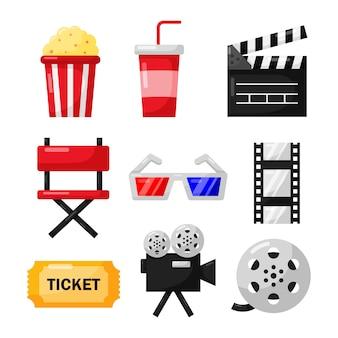 Conjunto de coleção de sinais e símbolos de ícones de cinema para sites isolar em branco