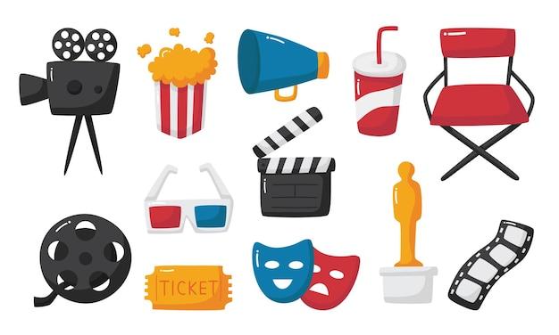 Conjunto de coleção de sinais e símbolos de ícones do cinema para sites isolados