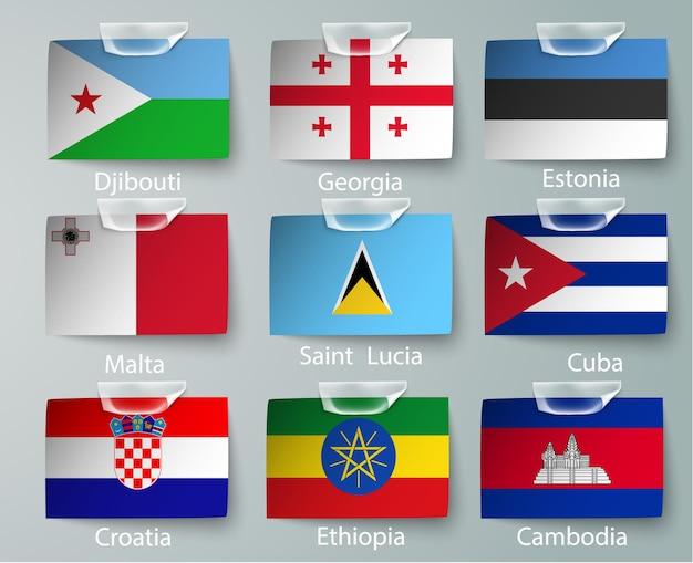 Conjunto de coleção de sinalizadores de nigéria isolado no branco.