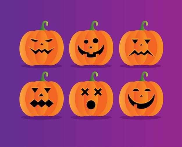 Conjunto de coleção de smiley de abóbora de halloween